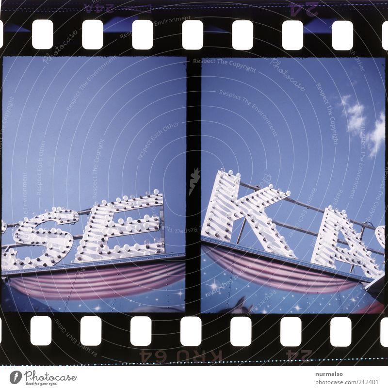 zahlen sie jetzt Stern Ausflug Filmmaterial Schriftzeichen Freizeit & Hobby analog trashig Jahrmarkt Schönes Wetter Glühbirne Zirkus Werbung Dia Kasse Billig Leuchtreklame