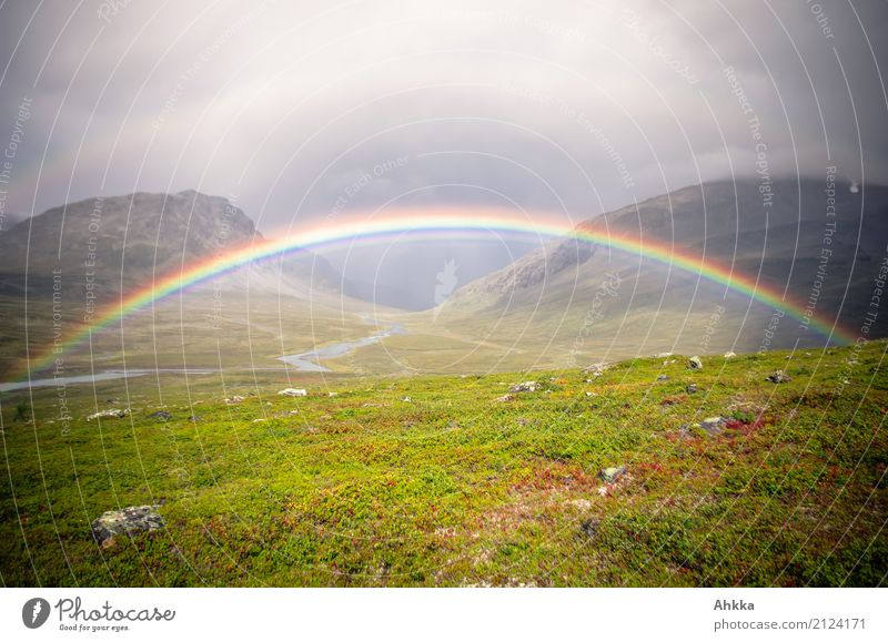 Buntes Tor Landschaft ruhig Ferne Berge u. Gebirge Religion & Glaube Wege & Pfade Glück Stimmung Regen Horizont Perspektive Abenteuer Zukunft Klima Schutz
