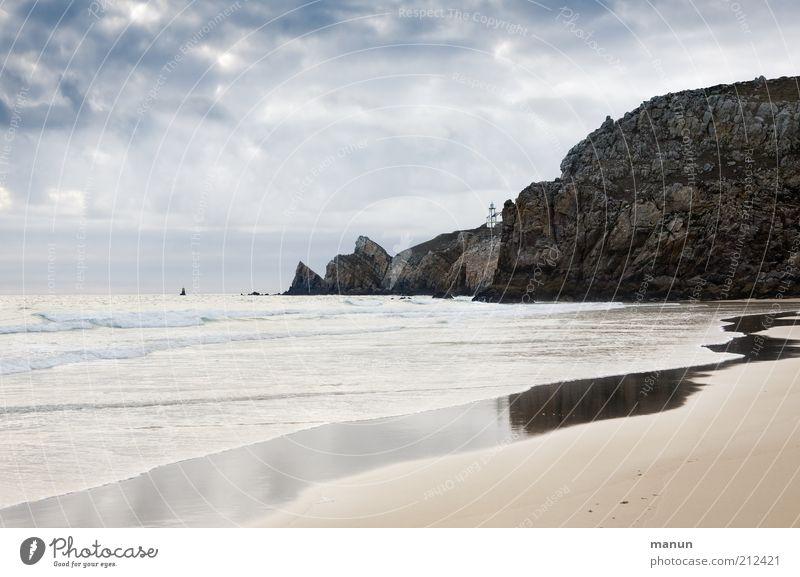 Toulinguet Ferien & Urlaub & Reisen Ferne Freiheit Umwelt Natur Landschaft Urelemente Sand Wolken Wetter Wind Küste Strand Bucht Riff Meer Bretagne Fernweh