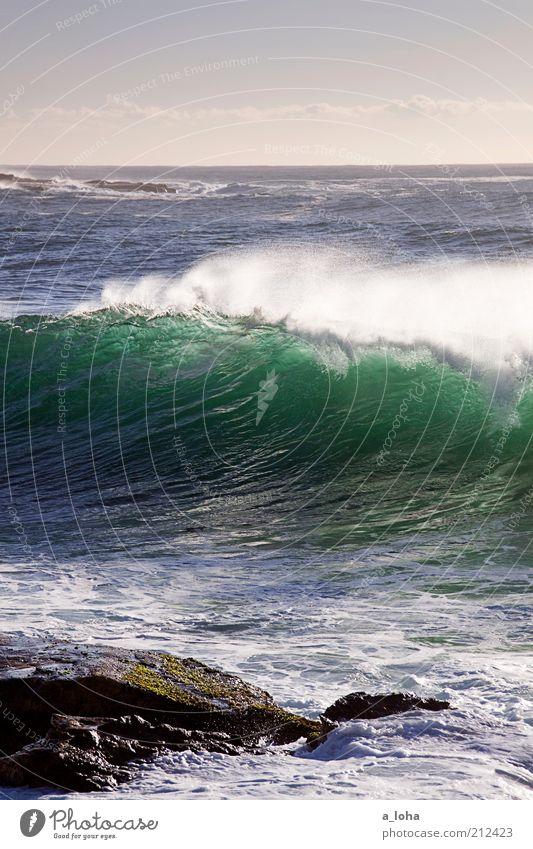 reef brake Tourismus Ferne Sommer Strand Urelemente Himmel Horizont Klima Schönes Wetter Felsen Wellen Küste Meer Bewegung glänzend außergewöhnlich Flüssigkeit