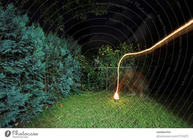 Blinkern again Garten 1 Mensch Landschaft Pflanze hell Hecke Gras Lampe Nacht schemenhaft Geister u. Gespenster Langzeitbelichtung Leuchtspur Farbfoto