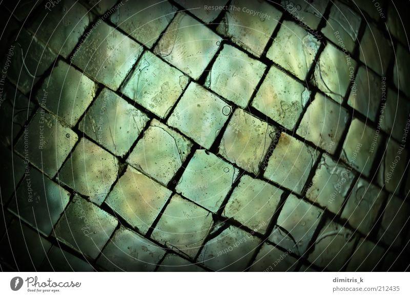 Glasquadrate Platz alt dunkel schwarz Formen liquide Hintergrundbild Kulisse gefärbt Riss gebrochen Grunge Luftblase Design schäbig Licht Material Bruchstück