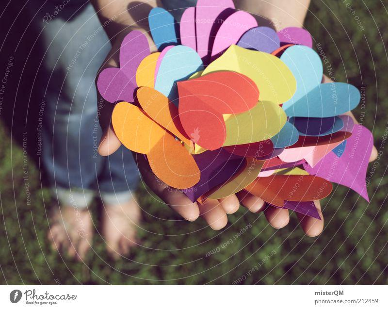 Qual der Wahl. Jugendliche Hand Liebe Spielen Gefühle Gras Glück Kunst Zufriedenheit Herz ästhetisch Dekoration & Verzierung Geschenk Suche Symbole & Metaphern festhalten