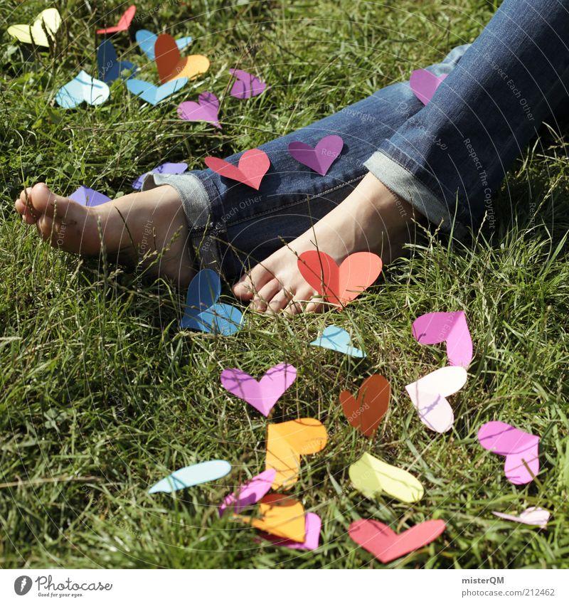 Liebe² Frau Sommer Liebe Gefühle Gras Kunst liegen Zufriedenheit Herz ästhetisch viele Symbole & Metaphern Kreativität Idee Jeansstoff Liebeskummer