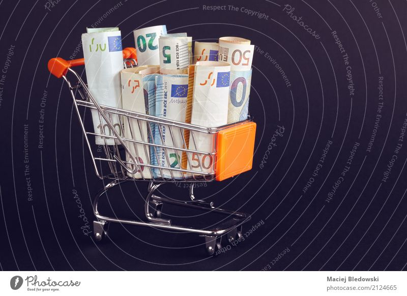 Einkaufswagen gefüllt mit Euroscheinrollen. kaufen Geld Wirtschaft Kapitalwirtschaft Geldinstitut Business Erfolg sparen Gesellschaft (Soziologie) Zukunft Karre