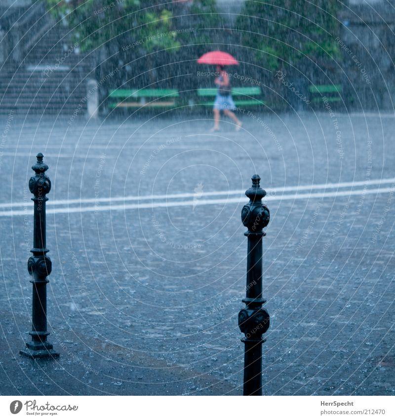 Sommerregen 1 Mensch Wasser Wassertropfen schlechtes Wetter Unwetter Regen Gewitter Stadt gehen nass grau grün rot Regenschirm Platz Kopfsteinpflaster Poller