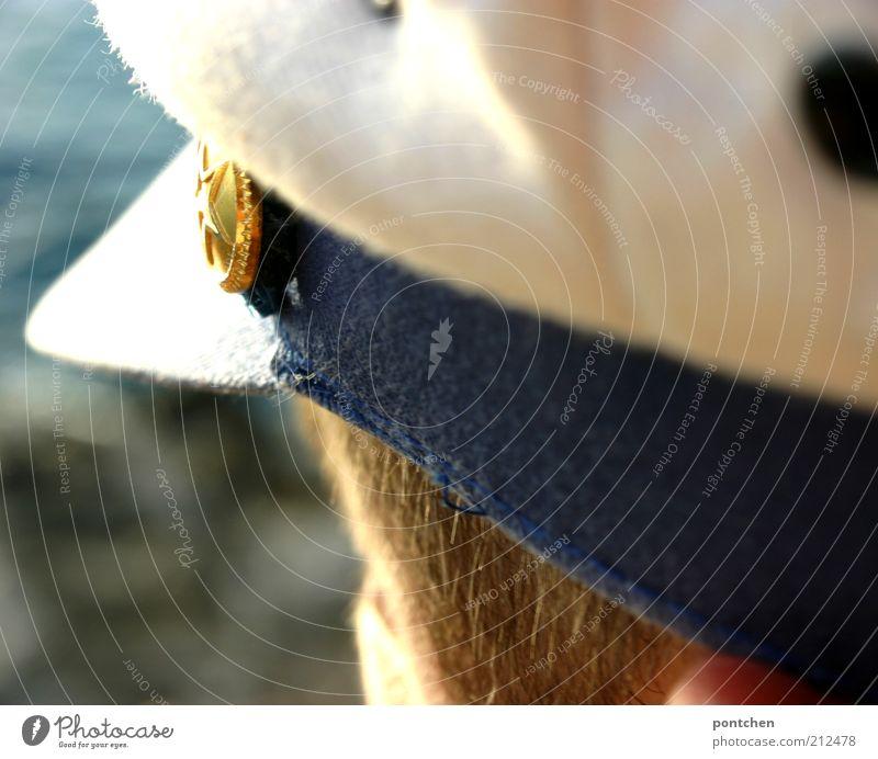 Mein Freund der Kapitän Mensch Mann blau Ferien & Urlaub & Reisen weiß Meer Erwachsene Ferne Freiheit Haare & Frisuren Kopf blond gold Freizeit & Hobby Ausflug