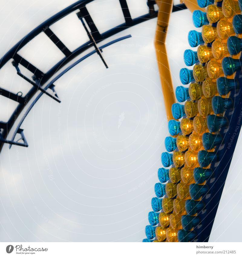 hochpass Himmel blau Freude gelb Bewegung Stil Feste & Feiern Freizeit & Hobby Energiewirtschaft Energie Verkehr Geschwindigkeit Zukunft Lifestyle Gleise Mut