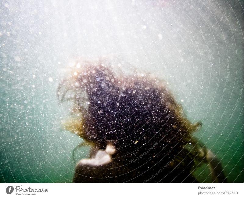 behaarlich Mensch feminin Frau Erwachsene Urelemente Luft Wasser Sommer See Haare & Frisuren brünett blond langhaarig Erholung träumen kalt ruhig Sehnsucht
