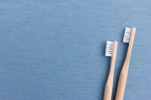 Zahnbürsten schön Körperpflege Gesundheit Reinigen leuchten frisch nachhaltig Sauberkeit blau weiß Tugend Lebensfreude Gesundheitswesen Stillleben Bad Holz