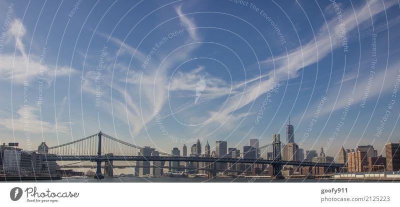 Manhattan Bridge und Skyline elegant Ferien & Urlaub & Reisen Tourismus Ausflug Ferne Freiheit Sightseeing Städtereise Schönes Wetter Fluss New York City USA