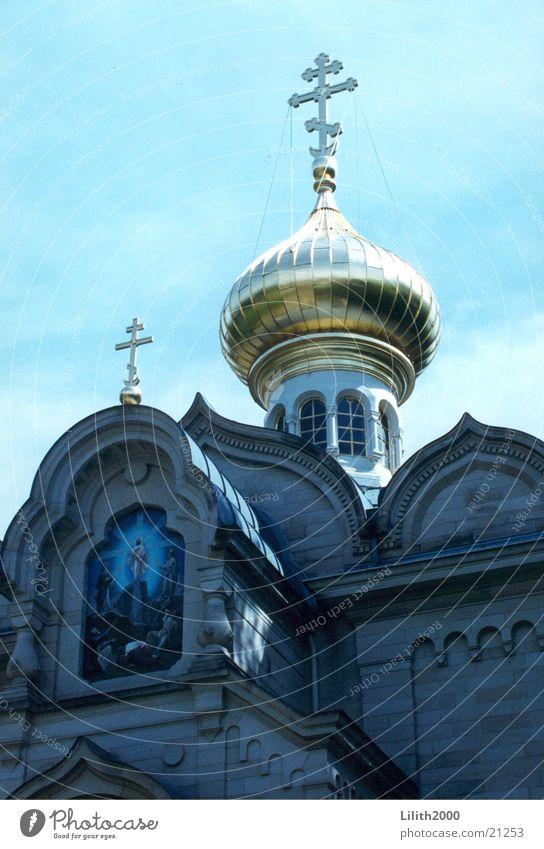 Russische Kirche Himmel blau Wiesbaden Rücken Fassade Kuppeldach Gotteshäuser Baden-Baden Russisch Orthodoxe Kirche
