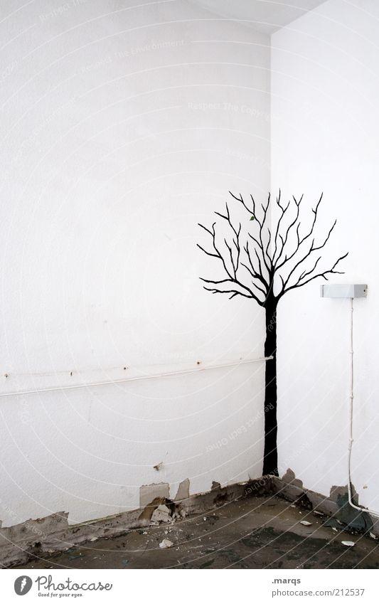 Herbst Lifestyle Wohnung Baum Mauer Wand Zeichen Graffiti außergewöhnlich kalt kaputt trist schwarz weiß Gefühle Endzeitstimmung Vergänglichkeit