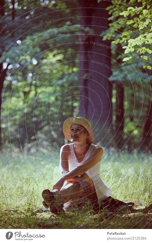 #A# Frau mit Hut Mensch Natur Sommer grün Baum Erholung Wald Garten Park ästhetisch Idylle sitzen fantastisch Baumstamm Kleid