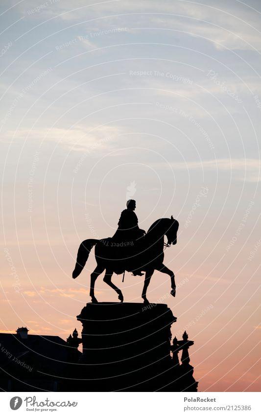 #A# Da reitet Er Kunst ästhetisch Reiter Reiterstandbild Dresden Altstadt Morgendämmerung Silhouette Idylle Symbole & Metaphern Macht Kultur Sehenswürdigkeit