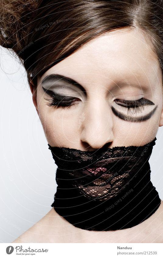 twisted Mensch Jugendliche schön Gesicht schwarz feminin Erwachsene elegant einzigartig außergewöhnlich Schminke Kosmetik bizarr falsch