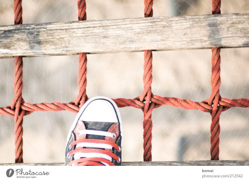 Chamäleon Lifestyle Freizeit & Hobby Spielen Sommer Mensch Leben Fuß 1 Sand Brücke Hängebrücke hoch oben rot Holz Turnschuh Schuhe Schuhbänder betreten wackelig