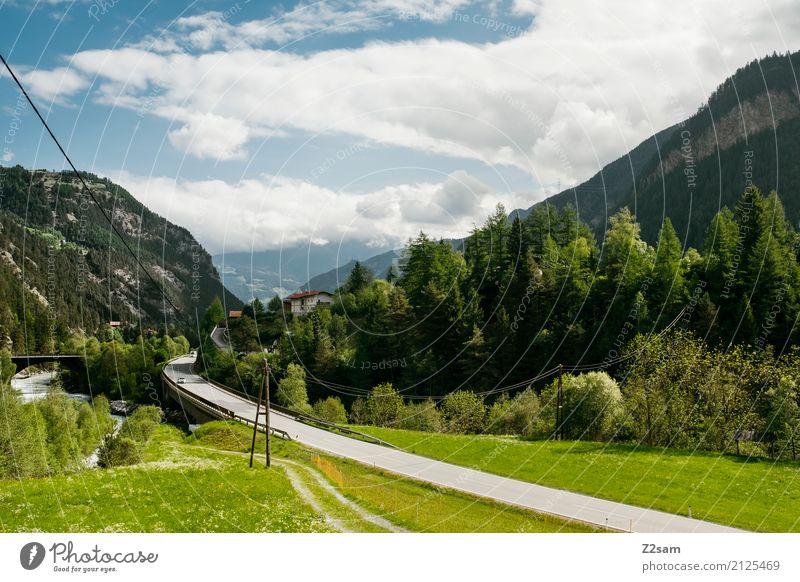 AT Umwelt Natur Landschaft Himmel Sommer Schönes Wetter Alpen Berge u. Gebirge Verkehrswege Straße frisch blau grün Freiheit Freizeit & Hobby Idylle Klima