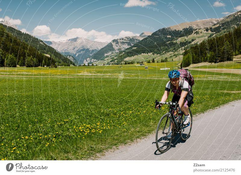 3. Etappe Ferien & Urlaub & Reisen Abenteuer Fahrradtour Sommerurlaub Fahrradfahren Junge Frau Jugendliche 18-30 Jahre Erwachsene Natur Landschaft