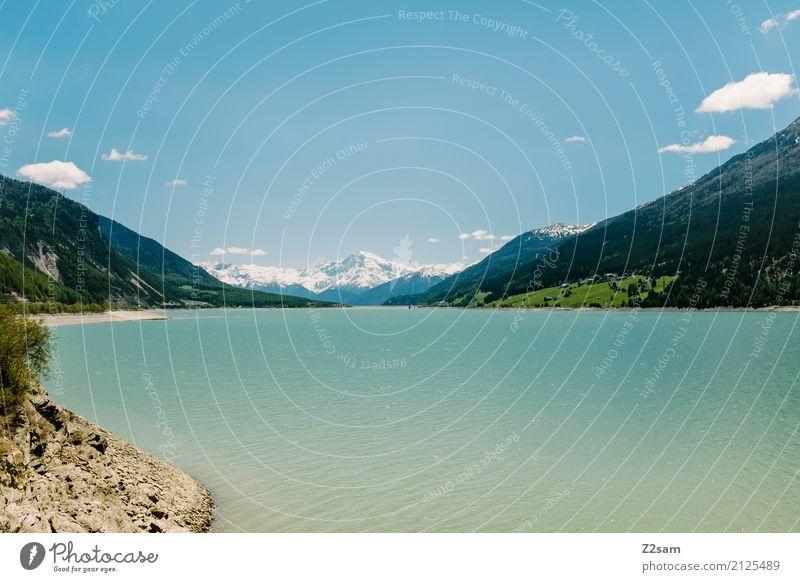 Reschensee Umwelt Natur Landschaft Himmel Sommer Schönes Wetter Alpen Berge u. Gebirge Schneebedeckte Gipfel Seeufer Ferne nachhaltig natürlich blau grün ruhig