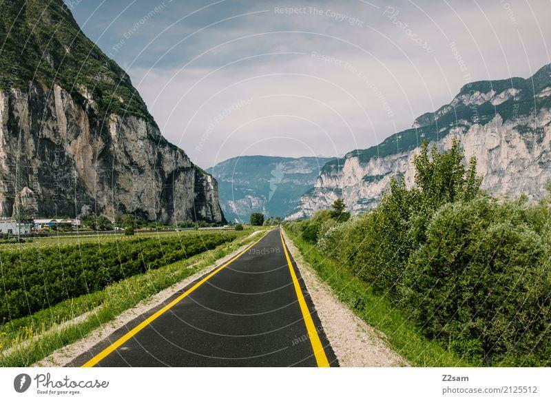 Fahrradstraße Natur Landschaft Himmel Sonne Sommer Schönes Wetter Sträucher Alpen Berge u. Gebirge Straße natürlich blau grün Einsamkeit Idylle Mittelpunkt