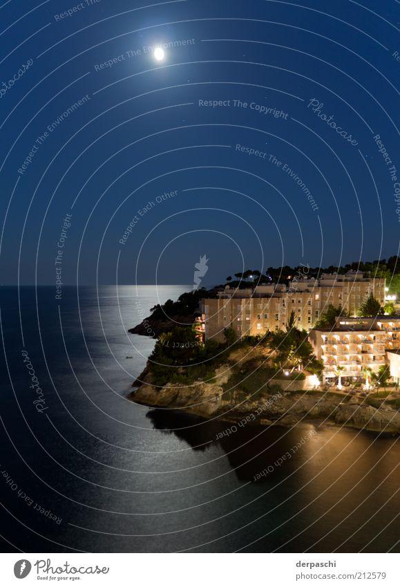 moon over cala vina Natur Luft Wasser Himmel Wolkenloser Himmel Nachthimmel Stern Horizont Mond Vollmond Sommer Schönes Wetter Bucht Meer Mallorca Gebäude