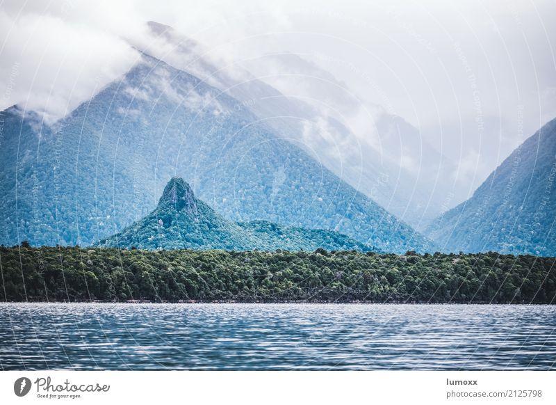 manapouri Natur Sommer grün Wasser Landschaft Wolken See Gipfel Hügel Fernweh Urwald Neuseeland Südinsel Fiordland Nationalpark