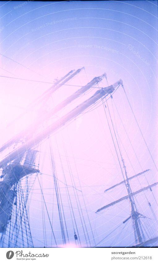 pink floyd blau Ferien & Urlaub & Reisen Farbe Ferne träumen hell rosa Kitsch Hafen Schönes Wetter analog Schifffahrt Segeln Mast Jacht
