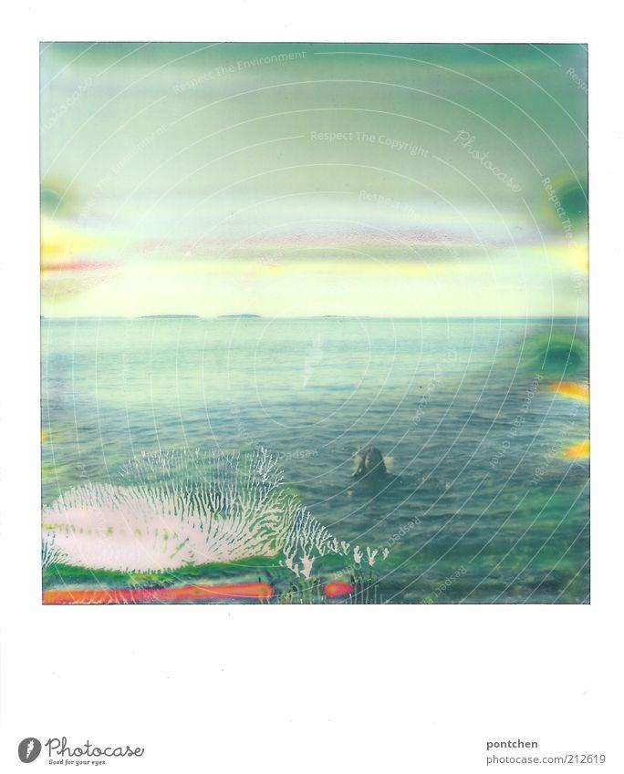Eine Frau schwimmt im Meer. Polaroid. Urlaub und Erholung. Unbeschwertheit Freizeit & Hobby Ferien & Urlaub & Reisen Tourismus Freiheit Sommer Sommerurlaub