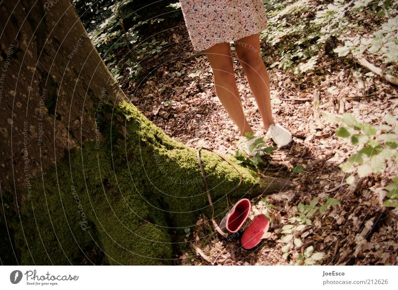 rotkäppchen Sommer Mensch feminin Frau Erwachsene Leben Beine Fuß 1 Pflanze Baum Wald Schuhe trendy retro Kleid Tasche Farbfoto Gedeckte Farben Außenaufnahme