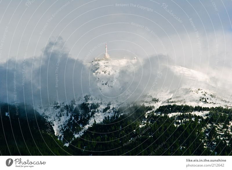 Neuschnee im August(!) Himmel Sommer Wolken Berge u. Gebirge Landschaft Wetter Klima Alpen Gipfel Schönes Wetter Dunst Klimawandel August Nebel Innsbruck Hochnebel
