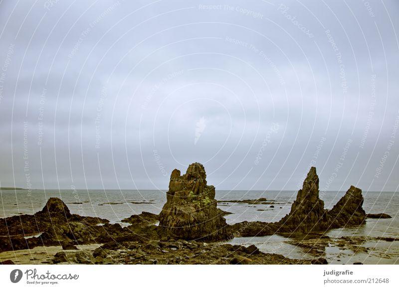Island Natur Wasser Himmel Meer ruhig Wolken dunkel Landschaft Stimmung Umwelt Felsen Klima wild natürlich Idylle