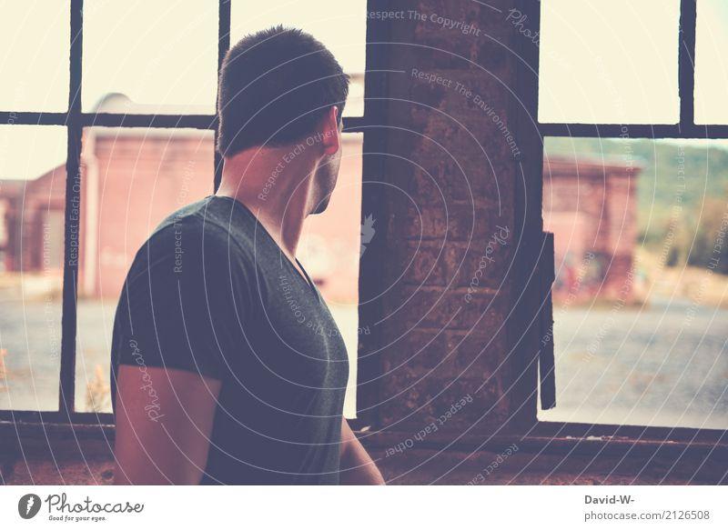beobachten Mensch Jugendliche Mann Junger Mann Erotik Haus Ferne Fenster Erwachsene Leben Lifestyle Gefühle Gesundheit Wohnung Angst Häusliches Leben