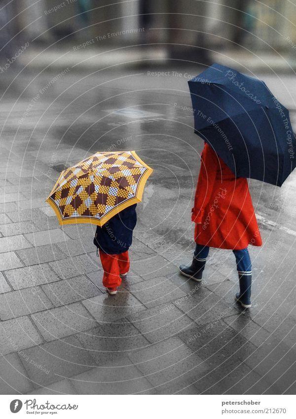 parapluie Mensch Kind blau rot Sommer Erwachsene Straße Freiheit Stil Regen Eltern Familie & Verwandtschaft Kindheit Schirm nass wandern