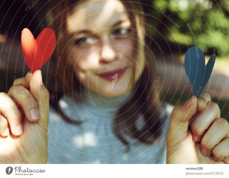 Zwei gefunden? Natur blau rot Liebe Gefühle Park Zusammensein Herz Kunst ästhetisch Mensch Liebespaar Lächeln Lichtspiel Gegenteil finden