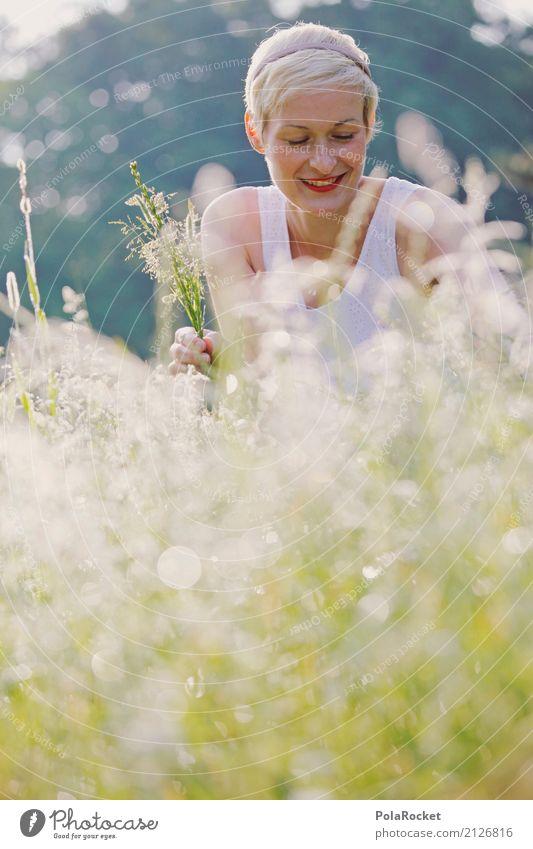 #A# Wilde Wiese Freizeit & Hobby Kunst ästhetisch Gras Sammlung Wiesenblume Außenaufnahme Sommer Park pflücken Frau Junge Frau Feld lachen Lächeln Natur