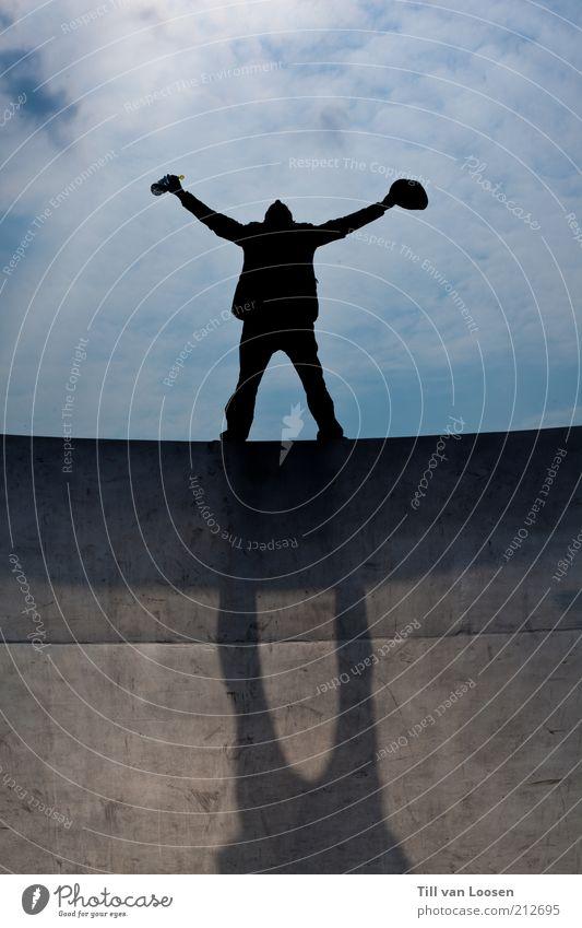 Freedom Lifestyle Freiheit Mensch 1 Kunst Himmel Wolken Sonnenlicht Sommer Wetter Schönes Wetter Accessoire schreien Erfolg frei Unendlichkeit hoch blau schwarz