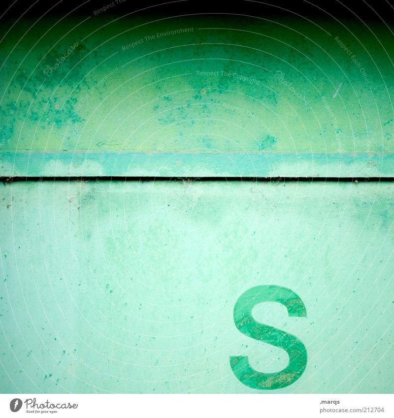 S Lifestyle Mauer Wand Metall Zeichen Schriftzeichen einfach einzigartig grün Farbe Verfall Farbfoto Detailaufnahme Textfreiraum links Textfreiraum rechts