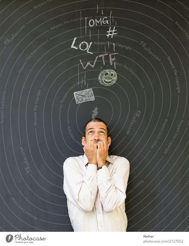 Überlastung und Stress durch Soziale Medien Mensch Mann weiß schwarz Erwachsene sprechen Business Angst Instant-Messaging Information Todesangst