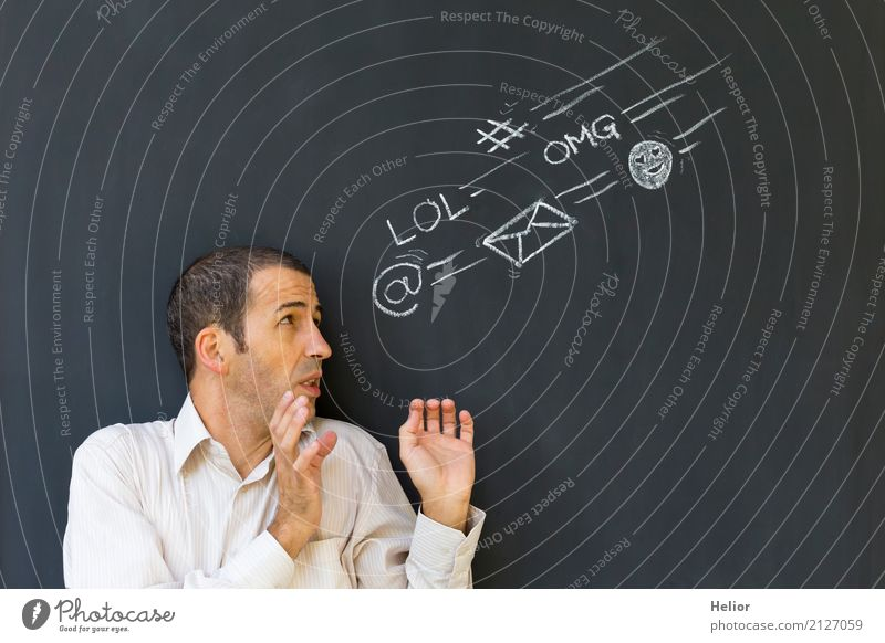 Überlastung und Stress durch Soziale Medien Business sprechen Informationstechnologie Internet maskulin Mann Erwachsene 1 Mensch 30-45 Jahre E-Mail