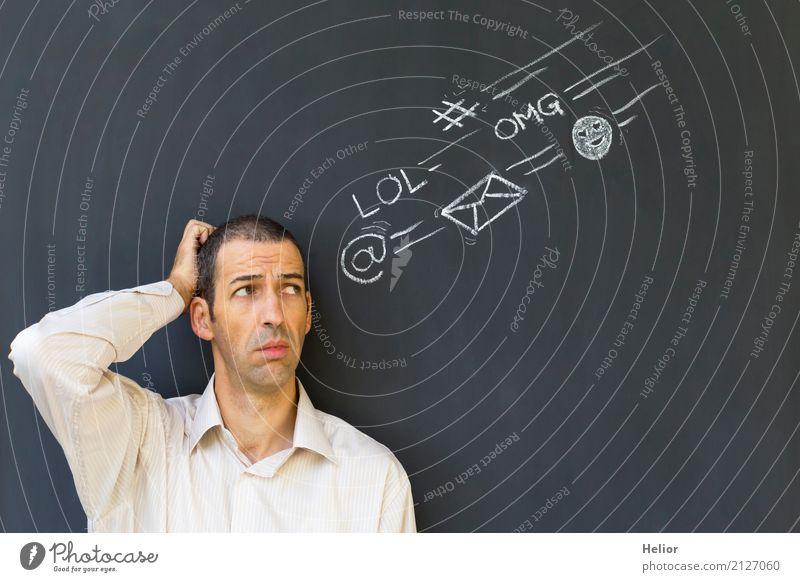 Überlastung und Stress durch Soziale Medien sprechen Telekommunikation Internet maskulin Mann Erwachsene 1 Mensch 30-45 Jahre E-Mail Hemd Zeichen Kommunizieren