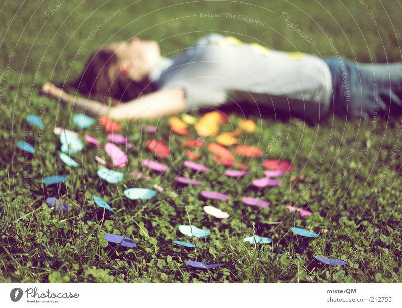 Hello Summer. Frau Sommer Liebe Wiese Freiheit Gefühle Gras Freizeit & Hobby Herz liegen ästhetisch Idylle Symbole & Metaphern Mensch Gelassenheit