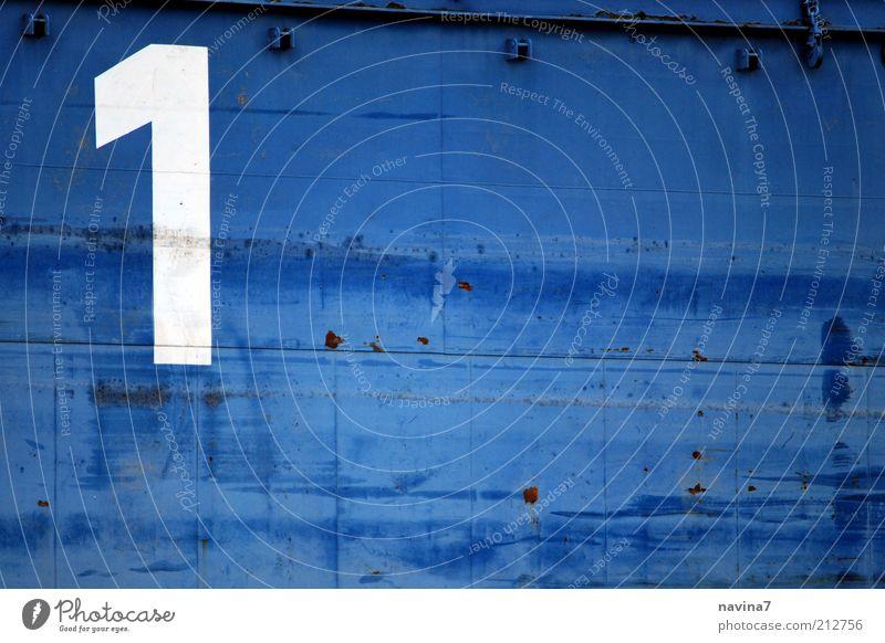 Nummer 1 Metall Schriftzeichen Ziffern & Zahlen Schilder & Markierungen eckig positiv blau weiß Farbe Farbfoto Außenaufnahme Detailaufnahme Menschenleer