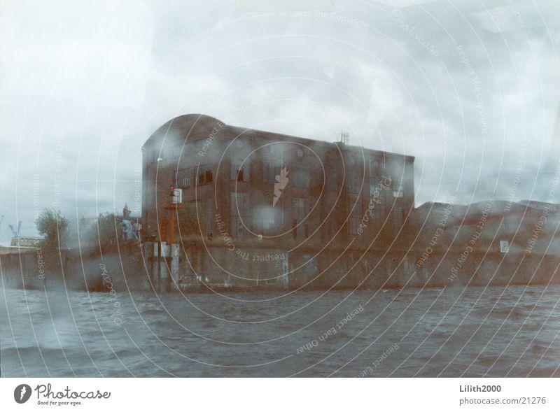 Hamburger Hafen Wasser Regen Wassertropfen Europa Kran Dock
