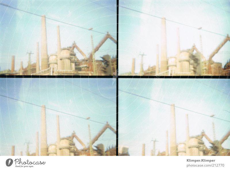 Saarlandschaft Fabrik Industrie Himmel Sommer Bauwerk Architektur alt retro Gedeckte Farben Außenaufnahme Experiment Lomografie Strukturen & Formen Menschenleer