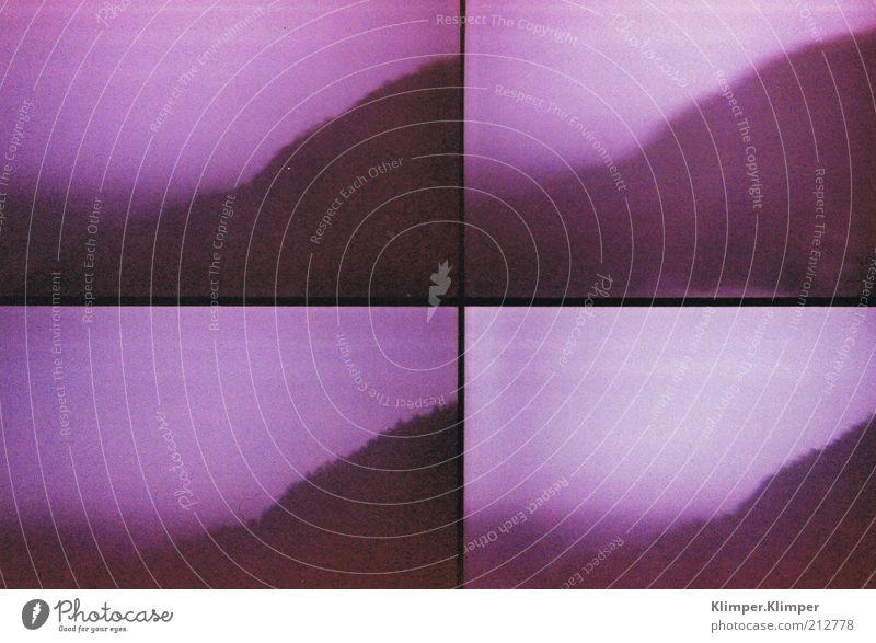 Hokuspokus. Berge u. Gebirge Umwelt Natur Landschaft Himmel schlechtes Wetter Unwetter Nebel Hügel authentisch Ferne weich violett Gefühle Stimmung schön ruhig
