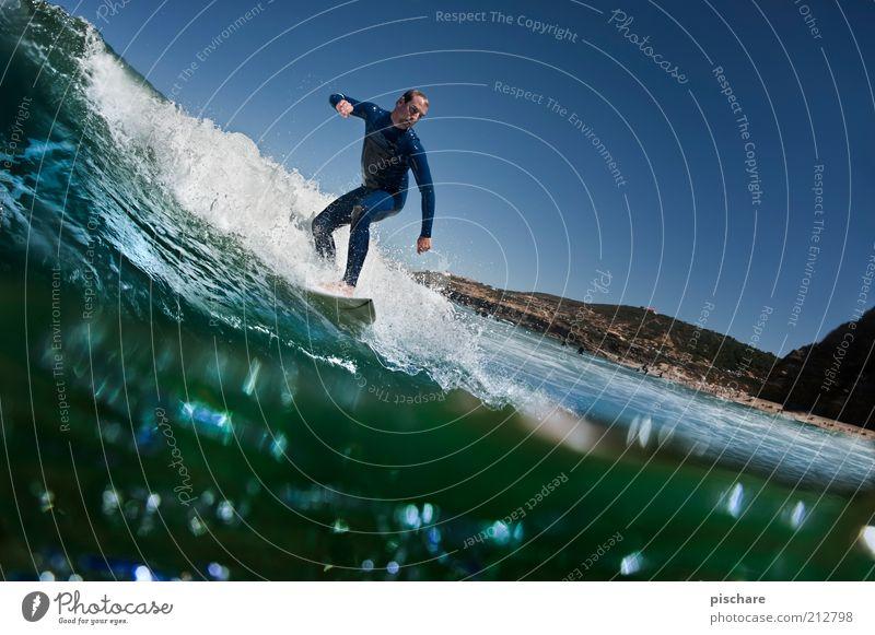 Haiperspektive II Himmel Wasser blau Sommer Strand Meer Sport Küste Wellen Freizeit & Hobby maskulin ästhetisch Lifestyle Coolness Urelemente außergewöhnlich