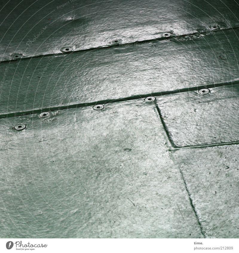 Seemannsblech (II) grün Wege & Pfade Metall Sicherheit Ordnung Metallwaren schäbig Schraube hart Blech Fuge Abdeckung Schiffsdeck Stabilität rechtwinklig