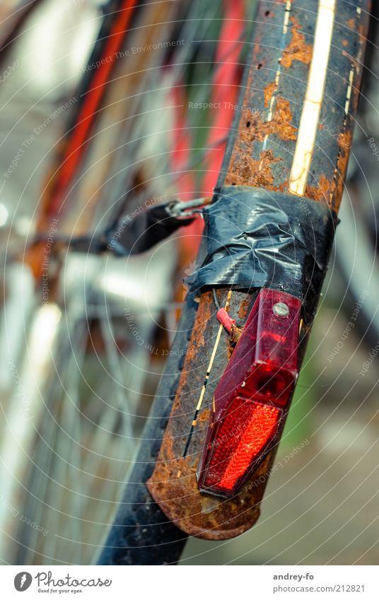 Veteran Fahrrad Sammlerstück Metall Schnur alt braun rot schwarz Zerstörung Fahrradreifen Rücklicht Schutzblech kaputt Rad kaputtes Rad Vergänglichkeit Rost