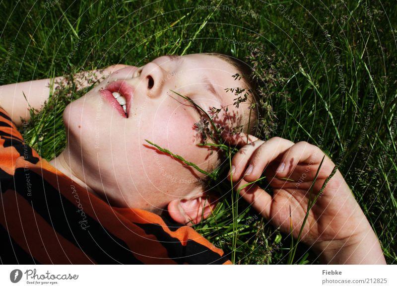 Sommerträume Natur Jugendliche Sommer Gesicht Ferien & Urlaub & Reisen ruhig Erholung Junge Wiese Gras Freiheit träumen Wärme Zufriedenheit blond